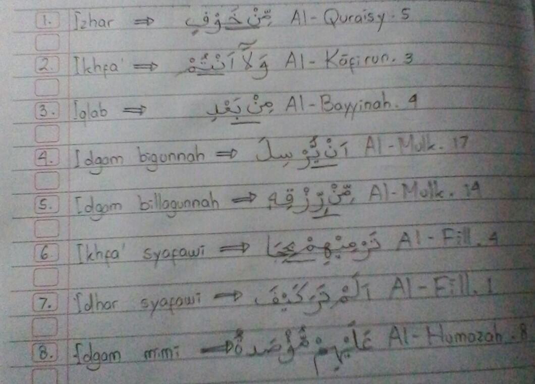 Cari Hukum Bacaan Di Bawah Inia Izhar B Ikhfa C Iqlab D Idgham