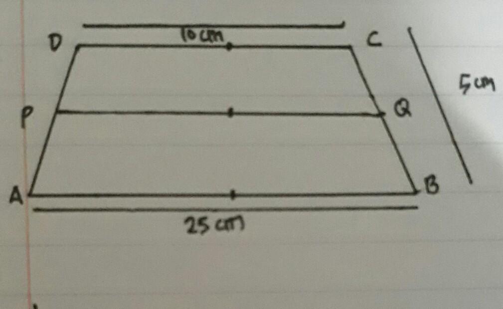 Perhatikan gambar trapesium di bawah, jika panjang AB = 25 ...