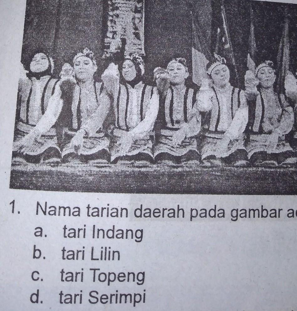 20. Nama tarian daerah pada gambar adalah ....a. tari Indangb. tari ...