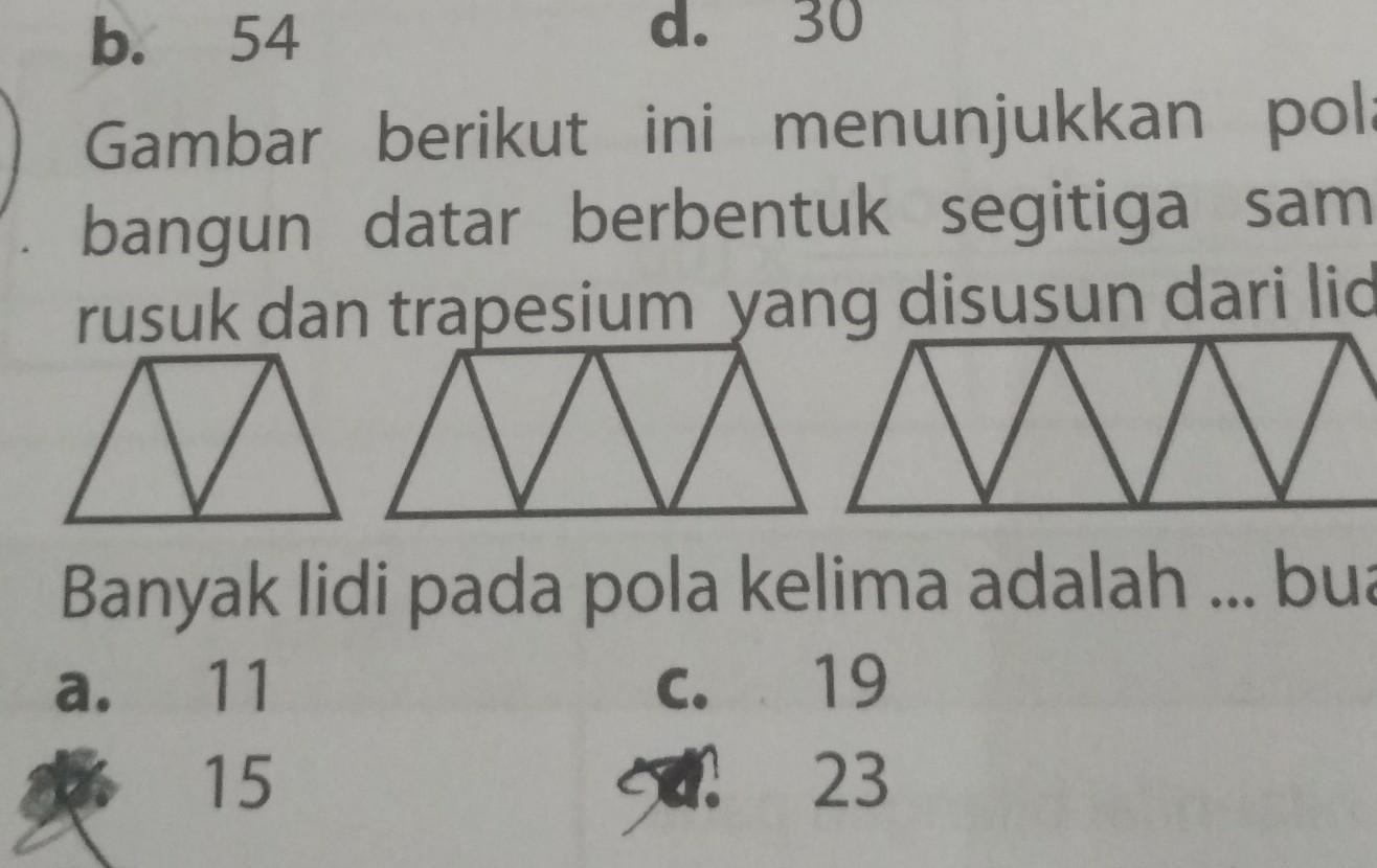 Gambar berikut ini menunjukkan polabangun datar berbentuk segitiga ...