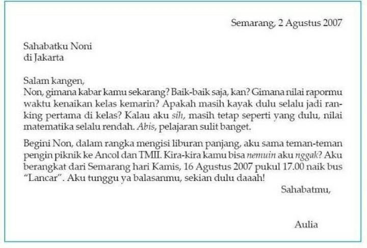 Contoh Surat Pribadi Utk Teman Yg Ada Di Surabaya Brainly Co Id