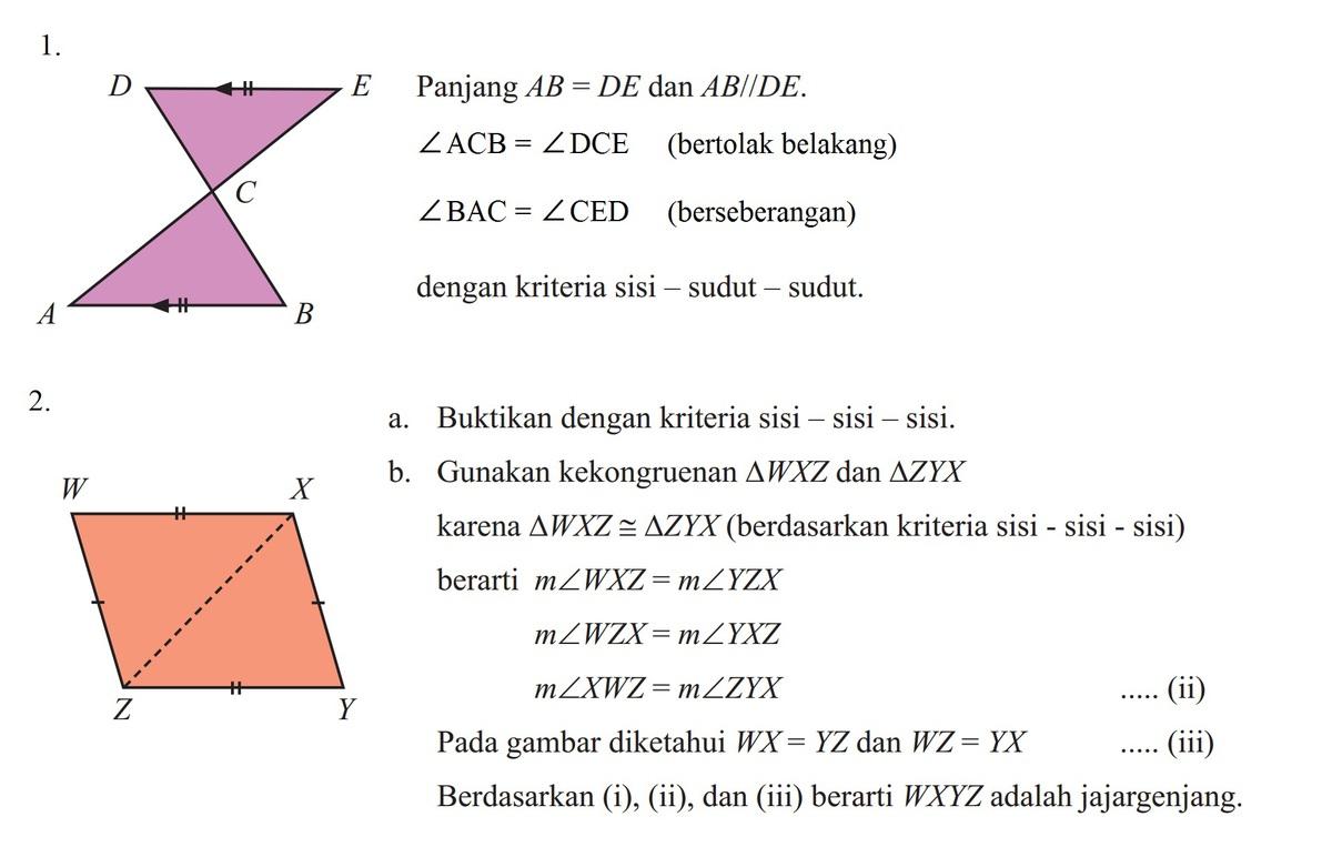 1.Perhatikan gambar dibawah ini panjang ab=de dan ab//de ...