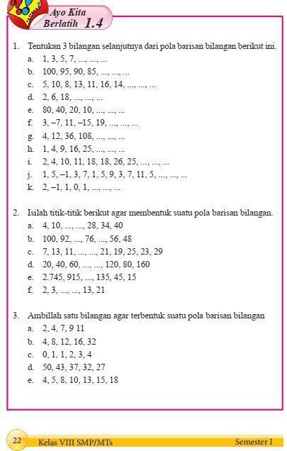 Matetika Kelas 8 Hal 22 Ayo Kita Berlatih 1 4 Brainly Co Id