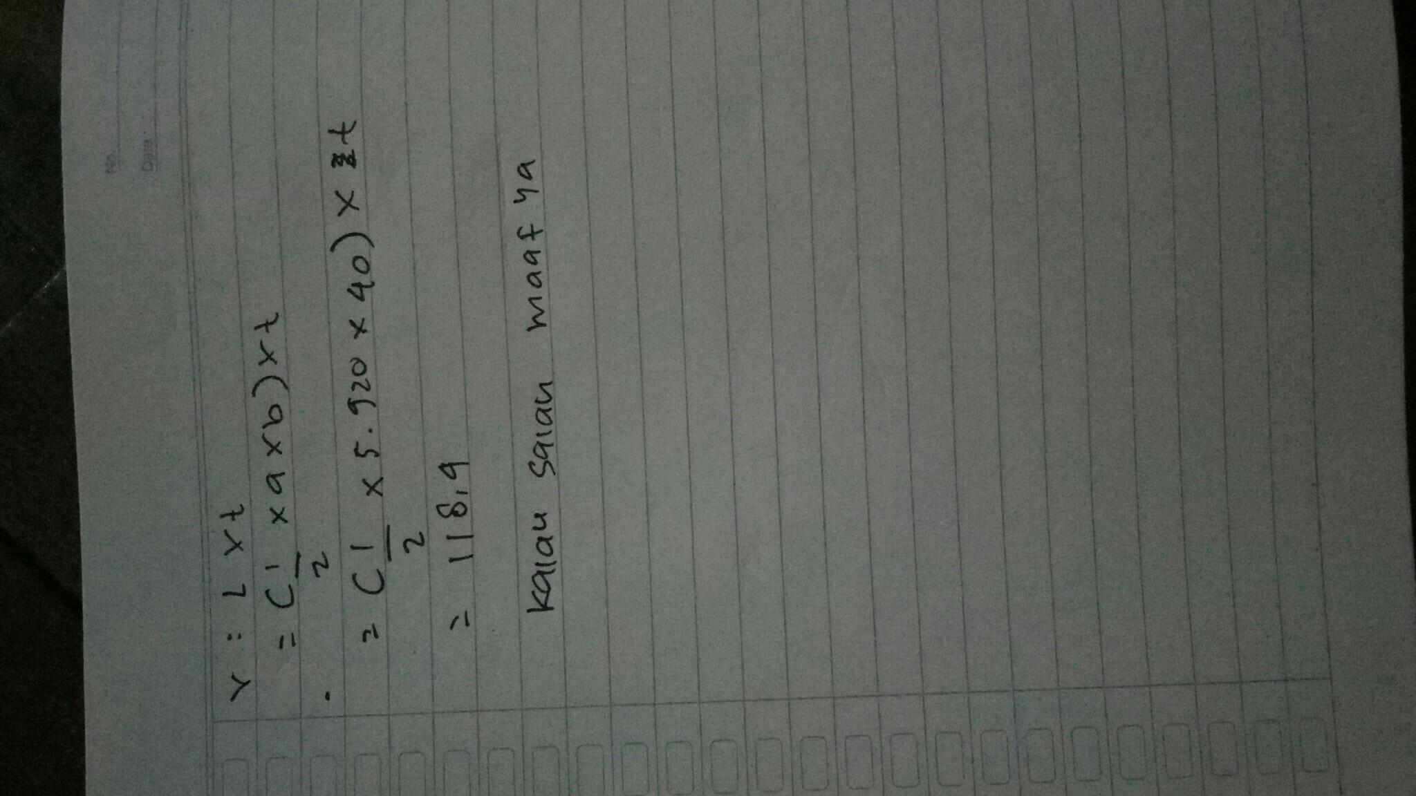 volume sebuah prisma segitiga dngan volume 5.920cm³ .Jika ...