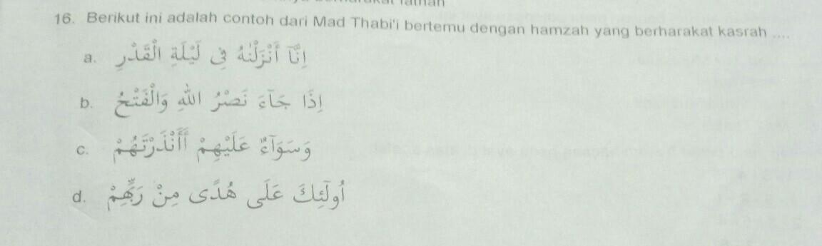 inya16. Berikut ini adalah contoh dari Mad Thabi'i bertemu ...