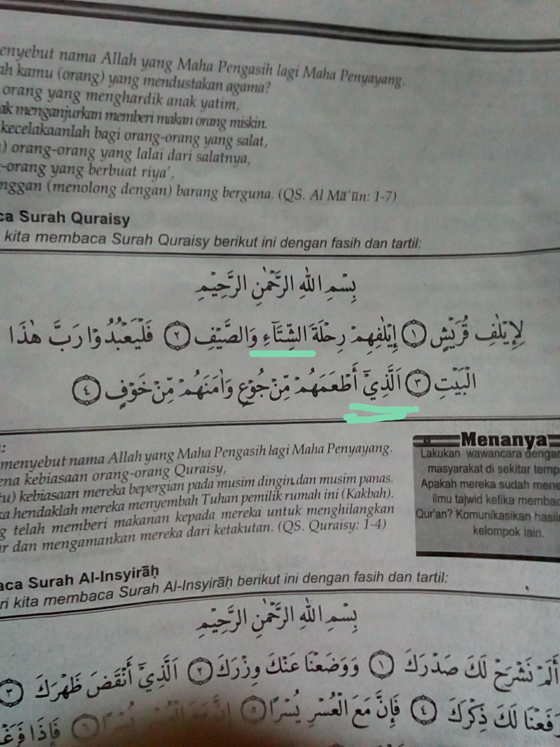Disajikan Surah Al Quraisy Ayat 4 Siswa Dapat Menyebutkan