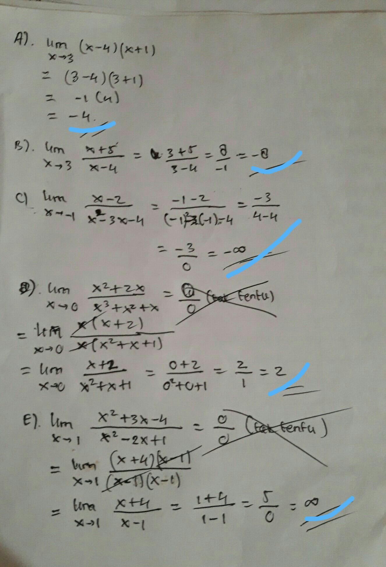 Hitungan Nilai Limit Fungsi Berikut A Lim X 4 X 1 X Gt 3 B Lim X 5 X Gt 3 X 4 C Lim X 2 Brainly Co Id
