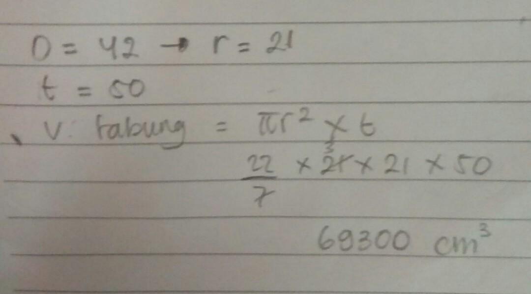 Volume Tabung Yang Memiliki Diameter 20 Cm Dan Tinggi 35 ...
