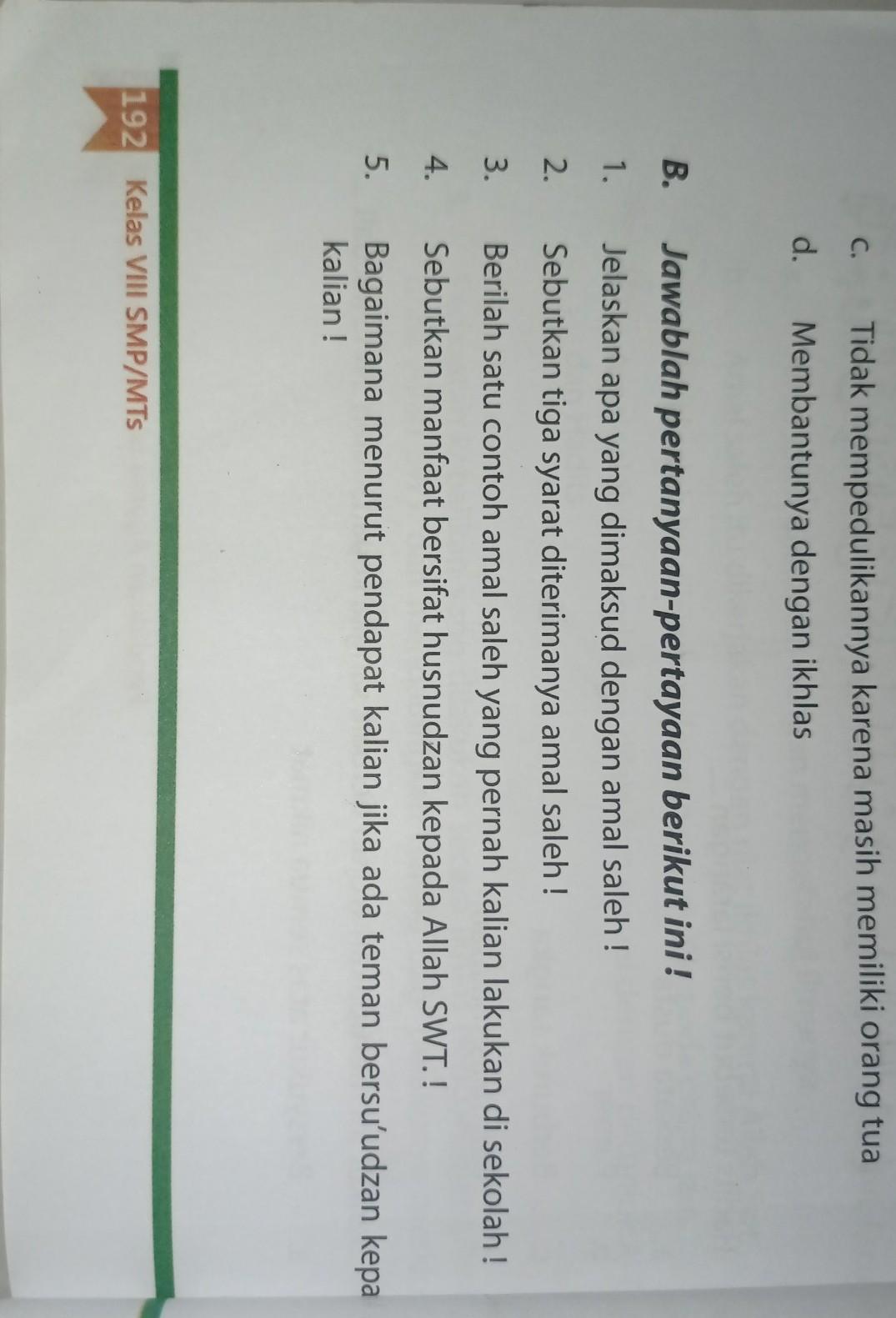 Jawaban Buku Paket Pendidikan Agama Islam Kelas 8 Halaman 192 Di Bagian B Brainly Co Id