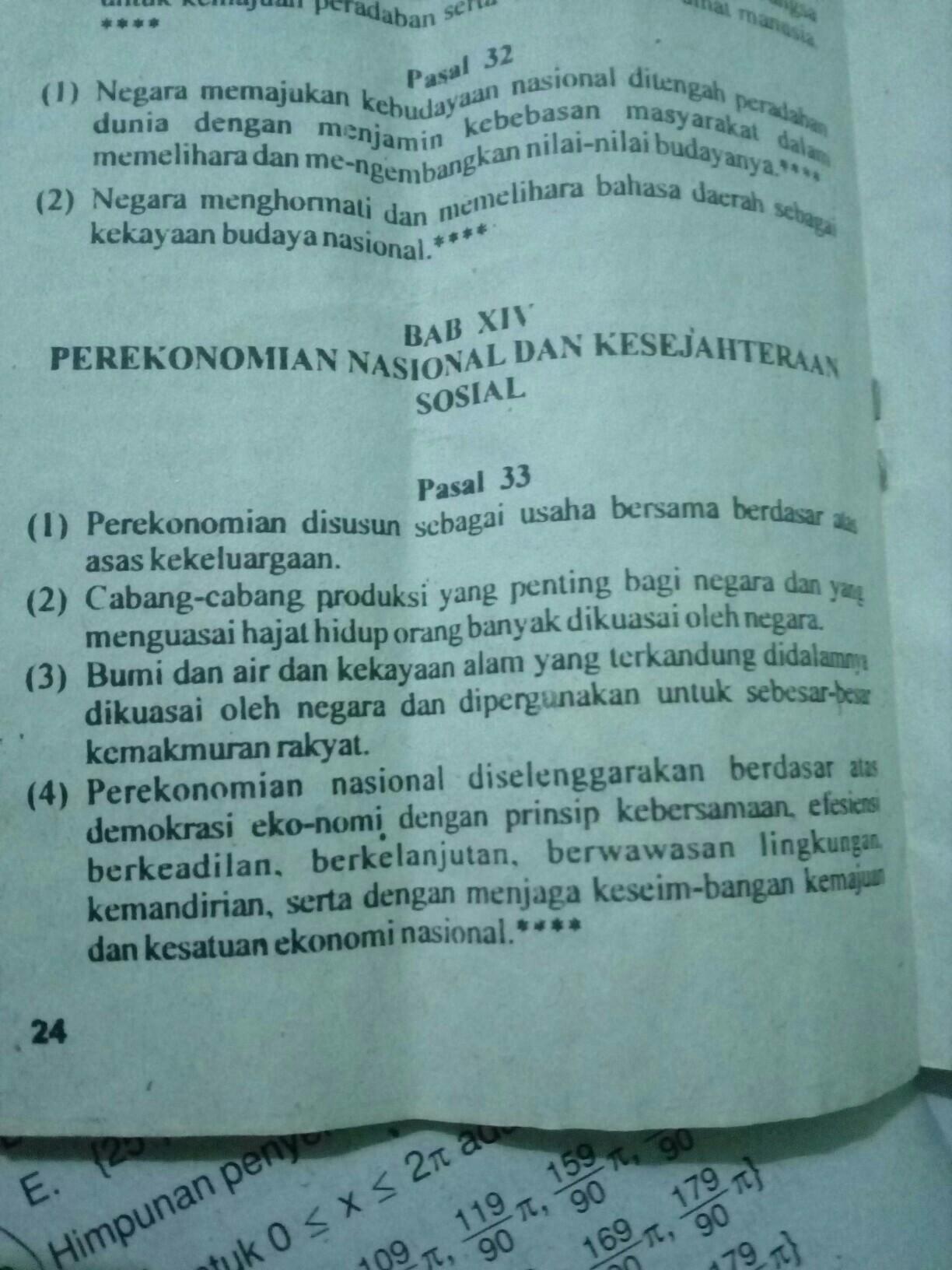 tuliskan isi dari pasal 33 UUD NRI tahun 1945 - Brainly co id