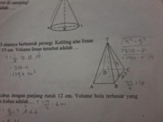 Diketahui jaring - jaring sebuah limas segi empat ...