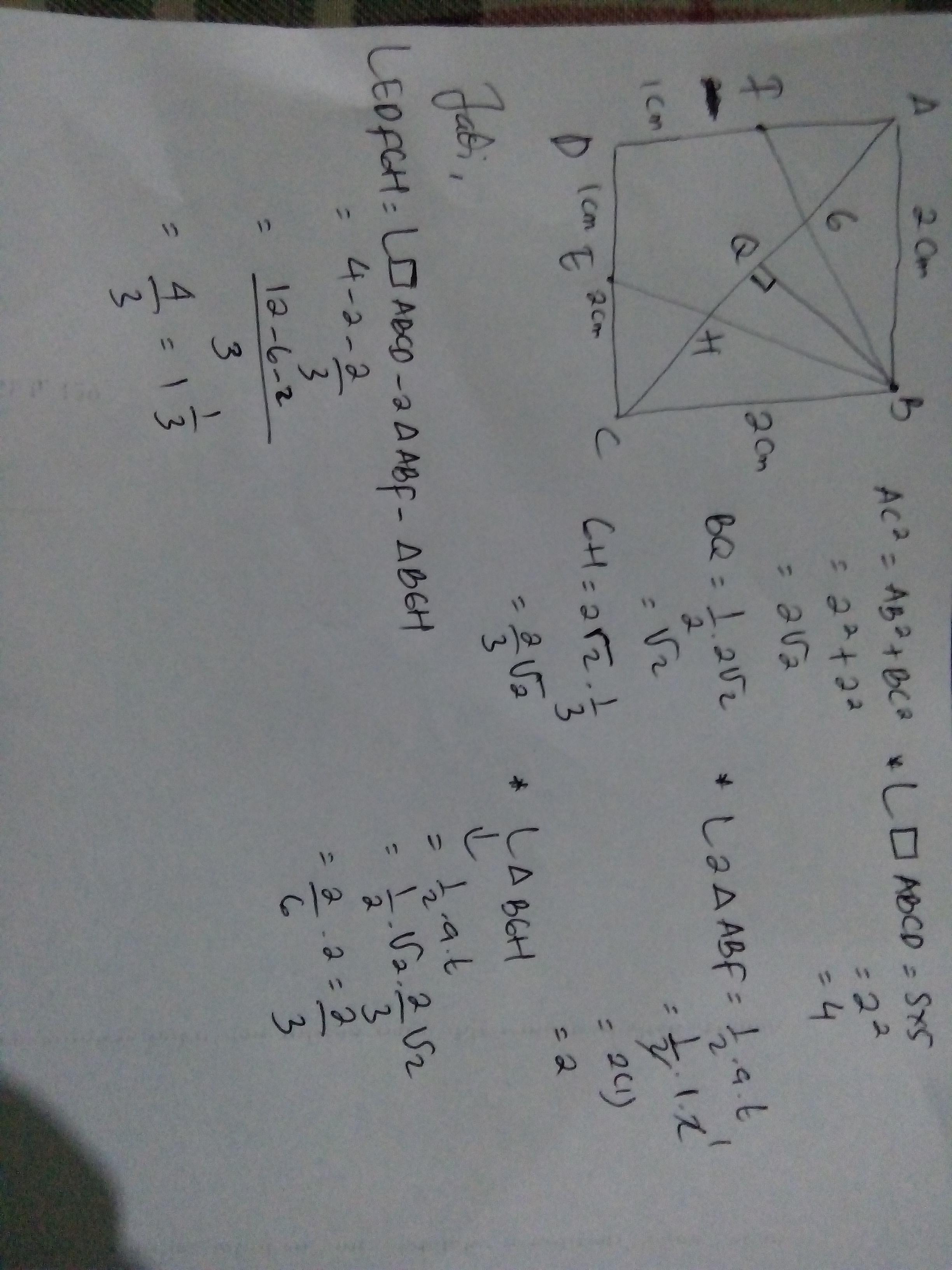 perhatikan gambar berikut. ABCD persegi dengan panjang ...