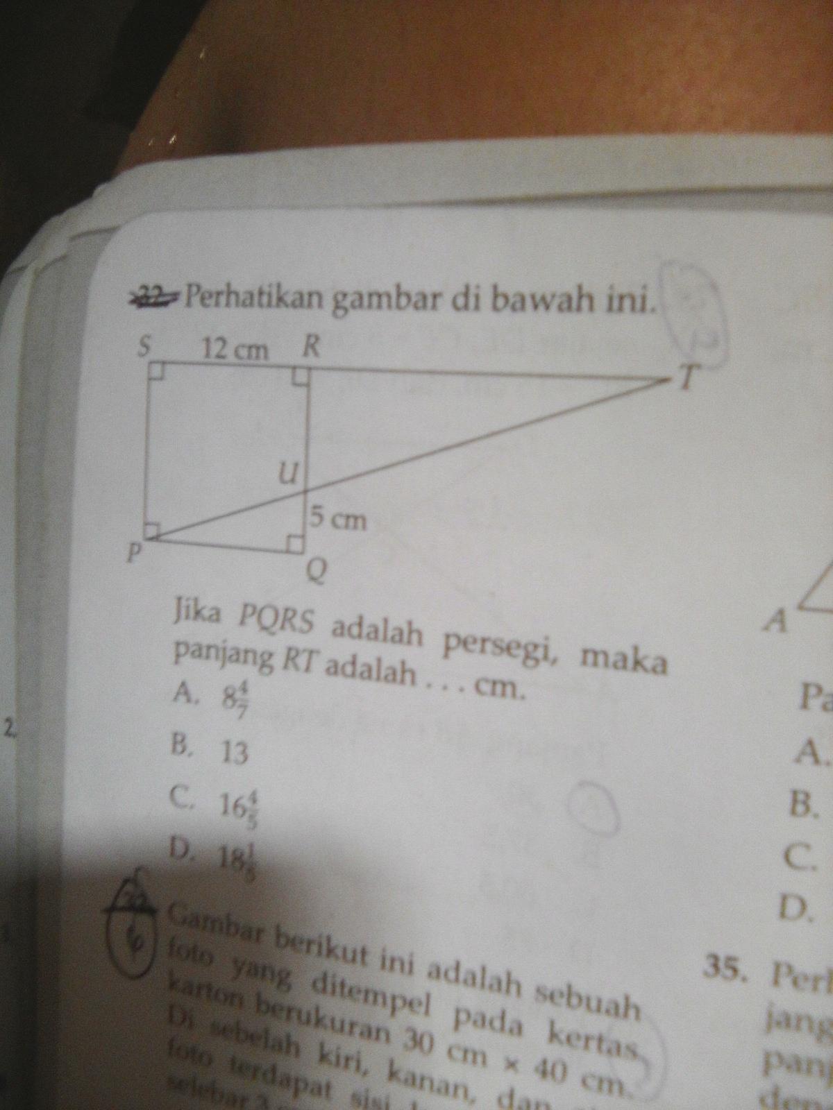 perhatikan gambar di bawah ini.jika PQRS adalah persegi ...