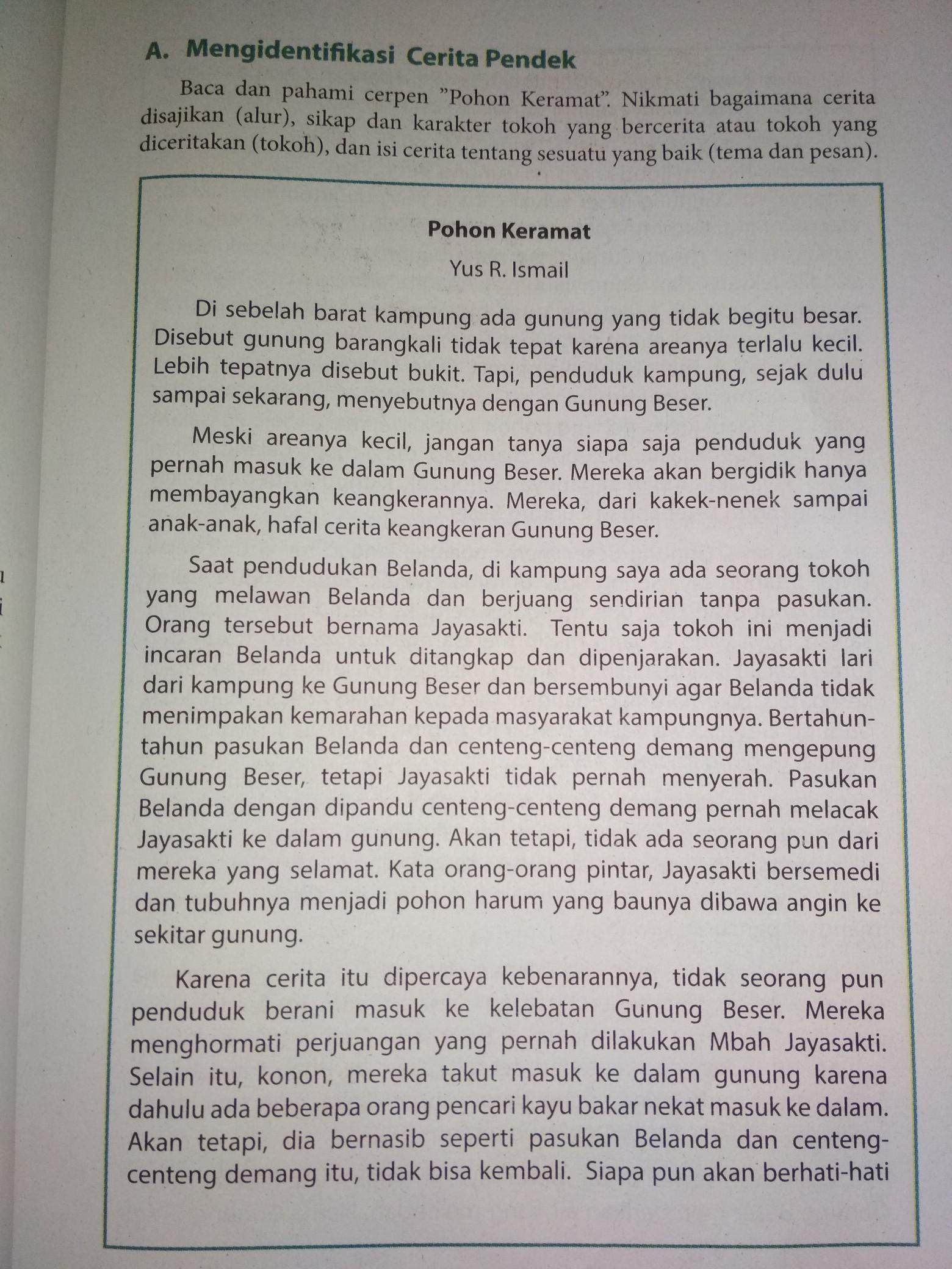 Buku Kelas 9 Bahasa Indonesia Kurikulum 2013cerita Pendek Pohon