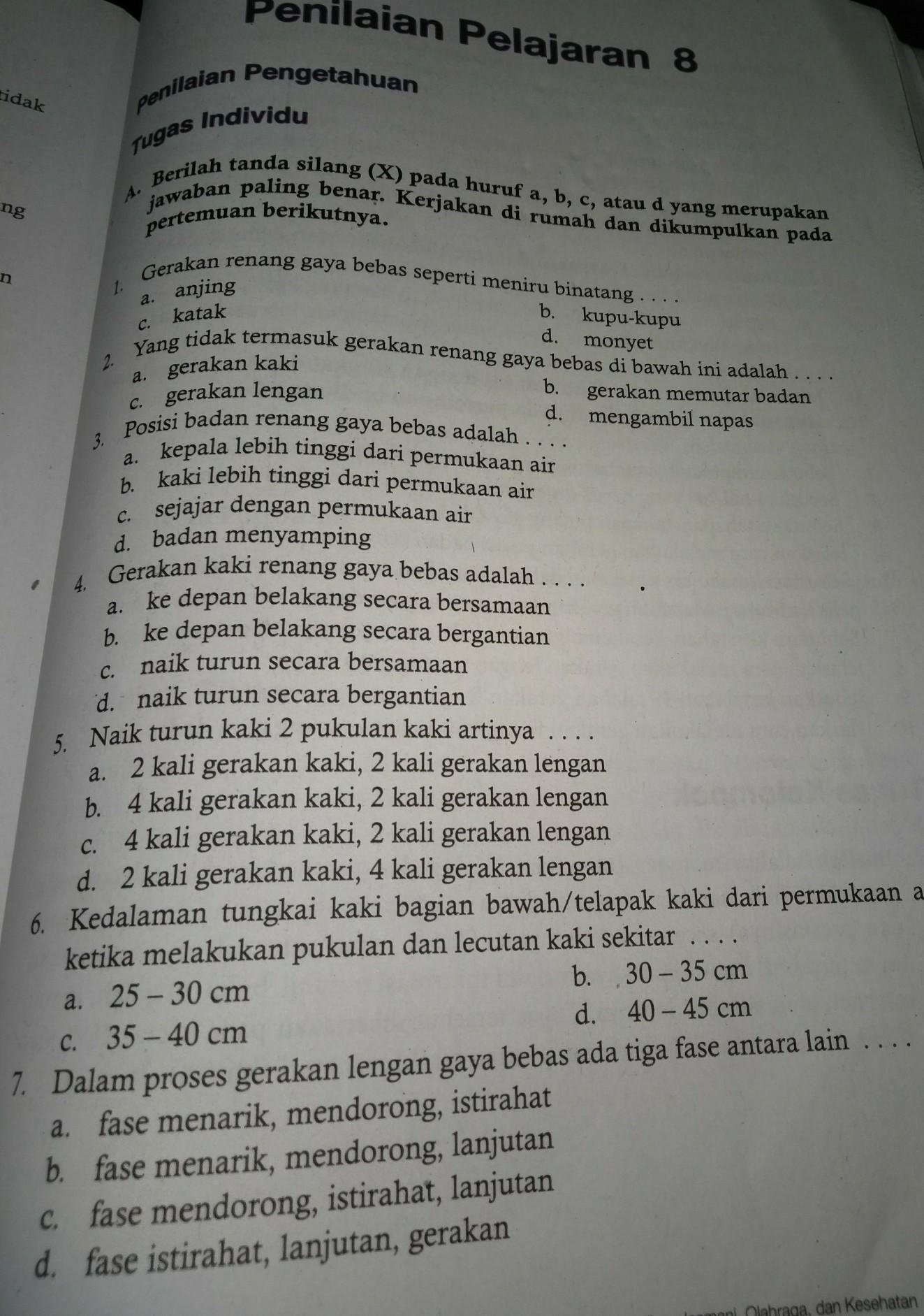 Kunci Jawaban Buku Penjaskes Kelas 7 Bab 8 Brainly Co Id