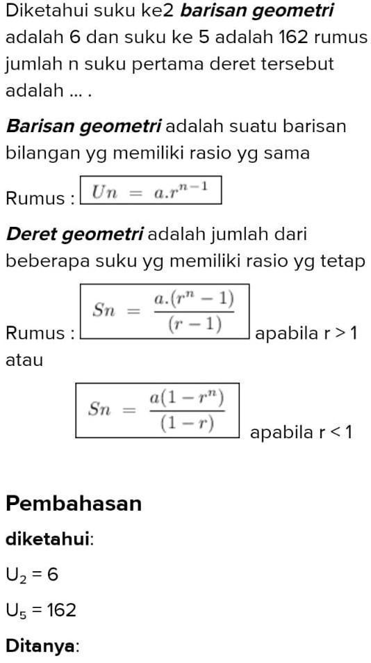 Rumus Barisan Dan Deret Geometri Brainly