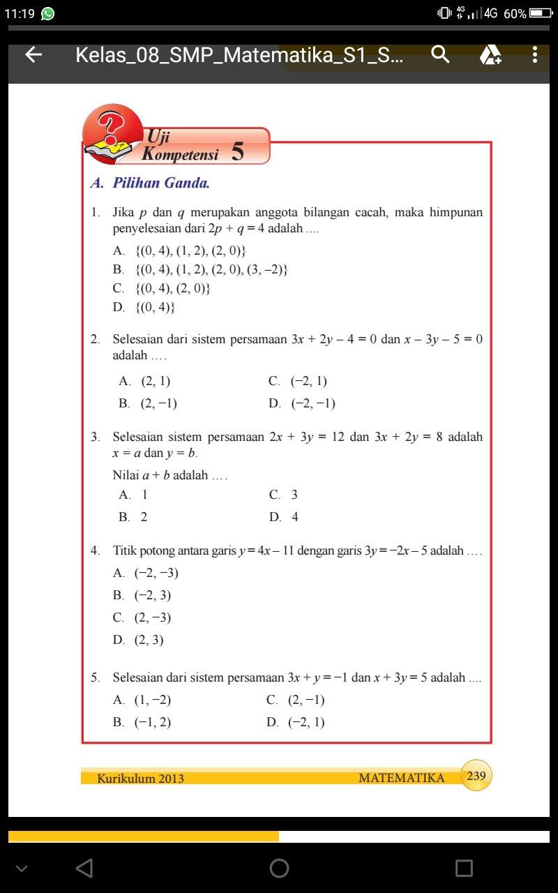 Kunci Jawaban Matematika Kelas 8 Semester 1 Hal 239 Uji Kompetensi 5 Brainly Co Id