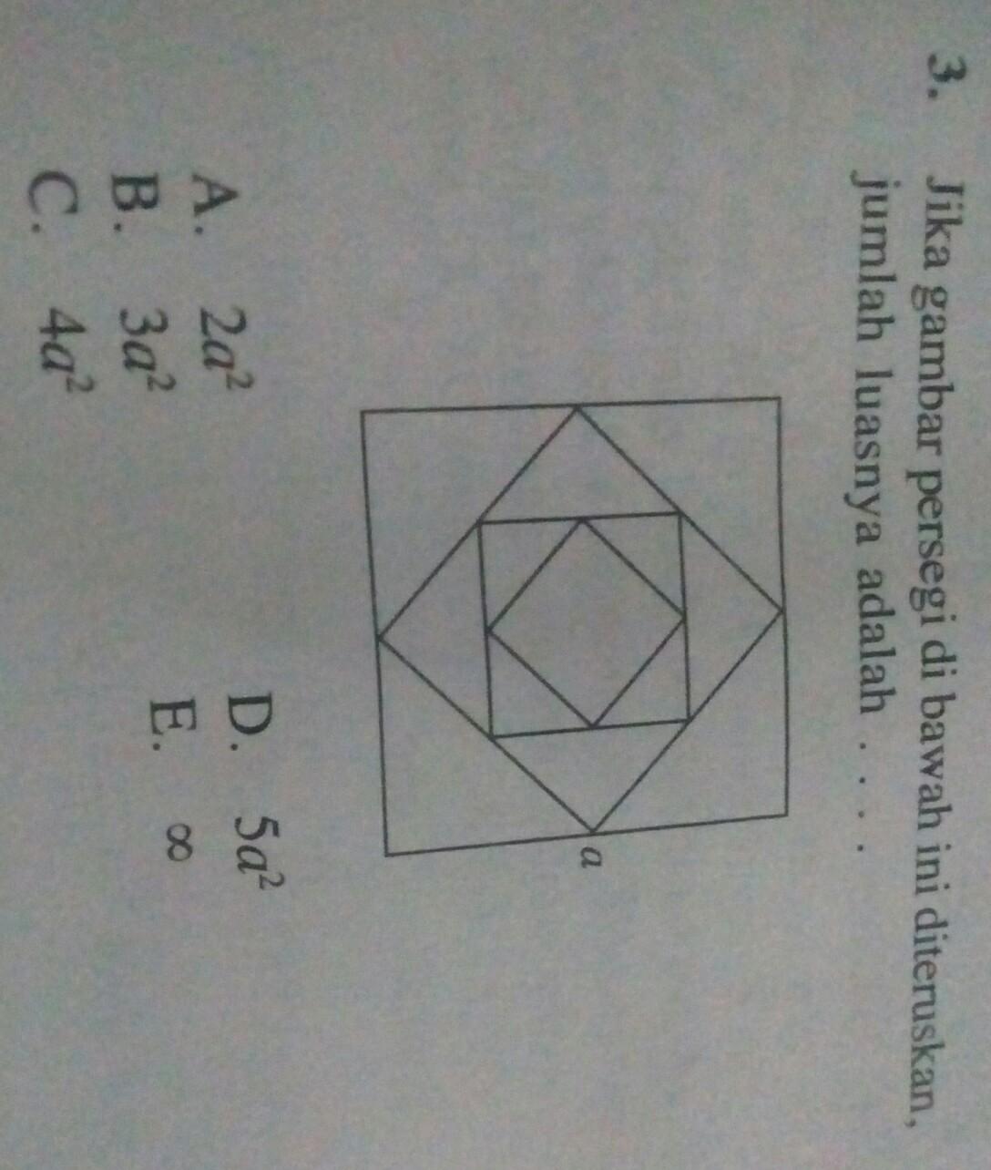 jika gambar persegi di bawah ini diteruskan. jumlah ...