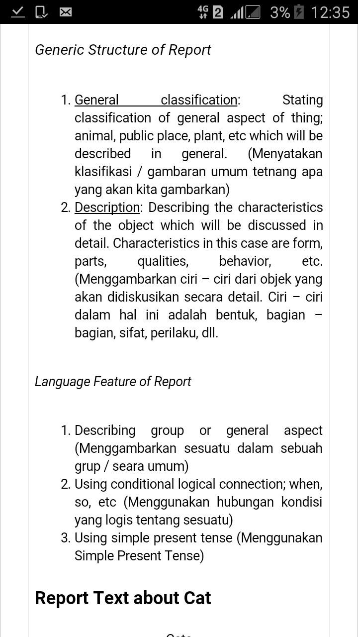 Contoh report text singkat dalam bahasa inggris dan artinya