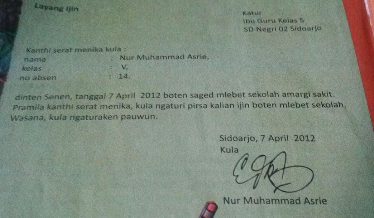 Contoh Surat Izin Tidak Masuk Sekolah Dalam Bahasa Jawa Kromo Contoh Seputar Surat