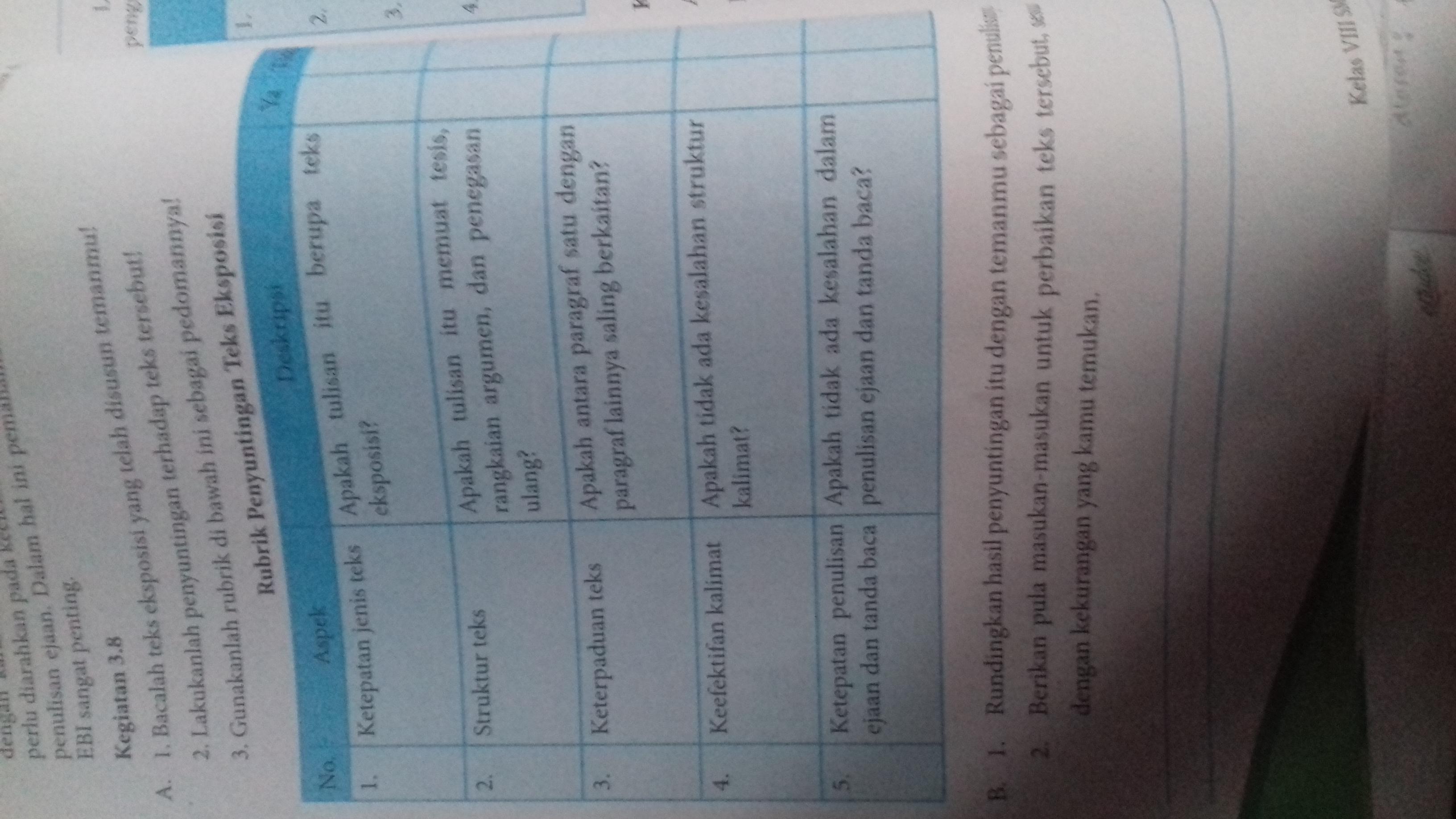Tolong Bantu Jawab, Kegiatan 3.8 Bahasa Indonesia Kelas 8 ...