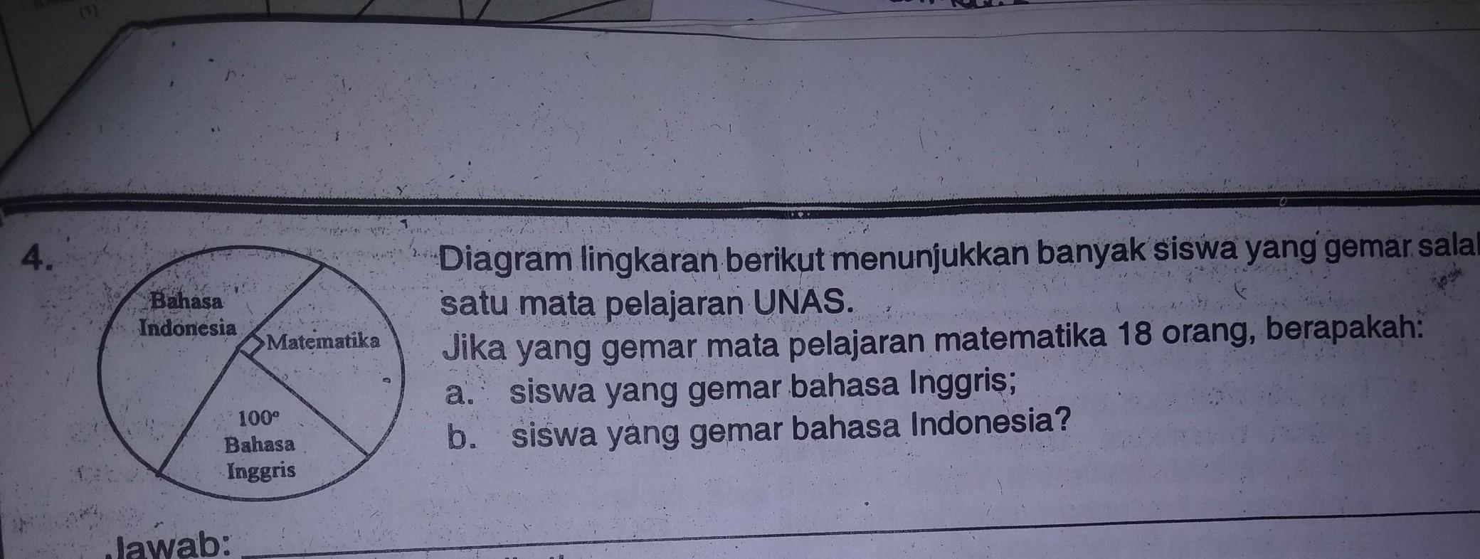 Bahasa indonesia bahasa inggris 100 matematika diagram lingkaran bahasa indonesia bahasa inggris 100 matematika diagram lingkaran berikut menunjukkan banyak siswa yg gemar salah satu mata pelajaran unas jika yg gemar ccuart Image collections