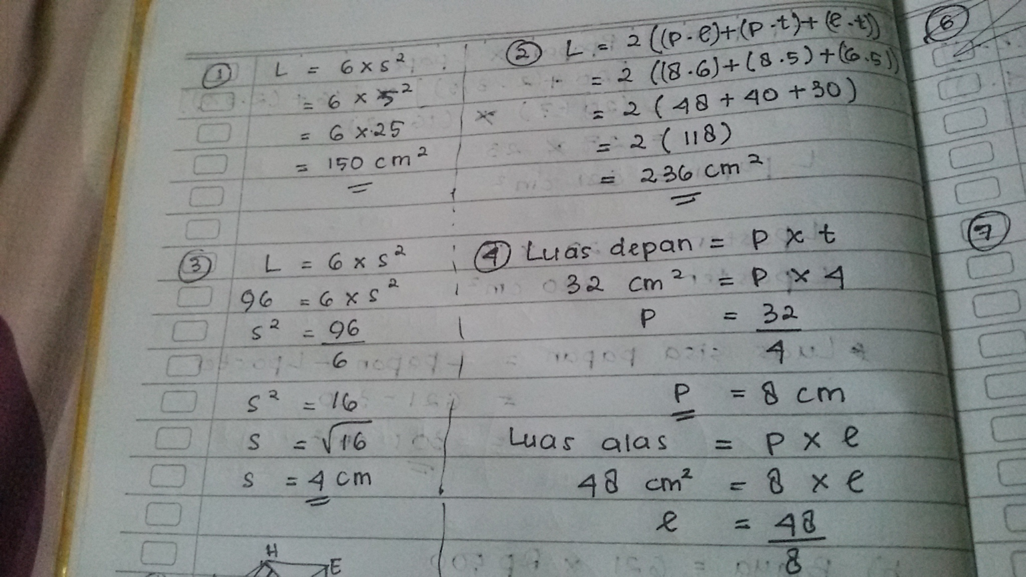 1. Luas permukaan kubus dengan panjang rusuk 5 cm adalah ...