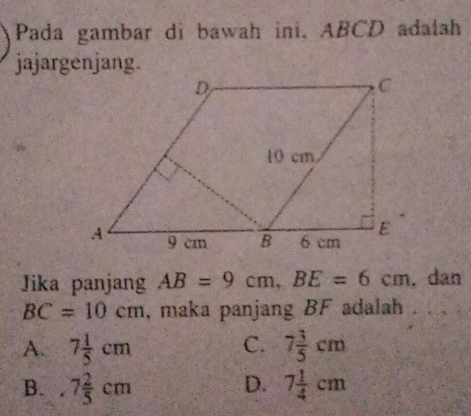 Pada gambar dibawah ini, ABCD adalah jajargenjang. Jika ...