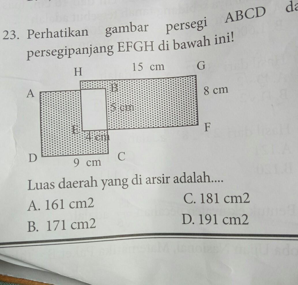 perhatikan gambar luas persegi ABCD dan persegi panjang ...