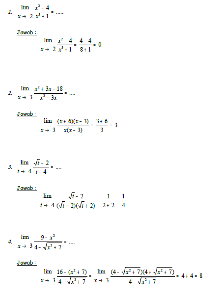 Tuliskan 20 Soal Dan Jawaban Tentang Limit Tak Hingga Limit Angka Limit Nol Brainly Co Id