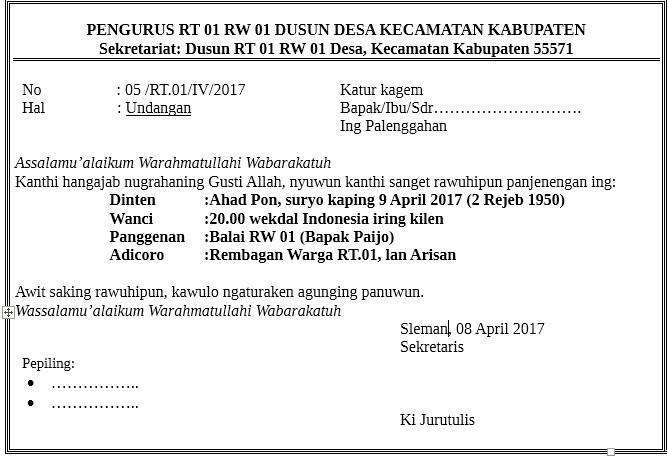 Contoh Surat Undangan Ulang Tahun Dalam B Jawa Brainlycoid