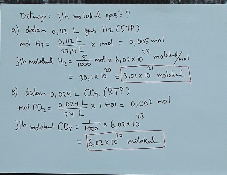Tentukan Jumlah Molekul Gas Gas Berikut Yang Terdapat Dalam 0 112 Liter Gas H2 Pada Keadaan Brainly Co Id