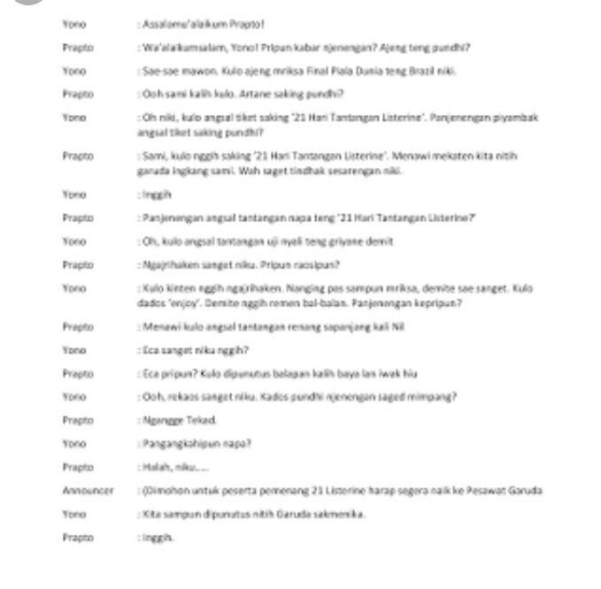 Contoh Soal Pacelaton Bahasa Jawa 1 Orang Minimal 6 Percakapan Brainly Co Id