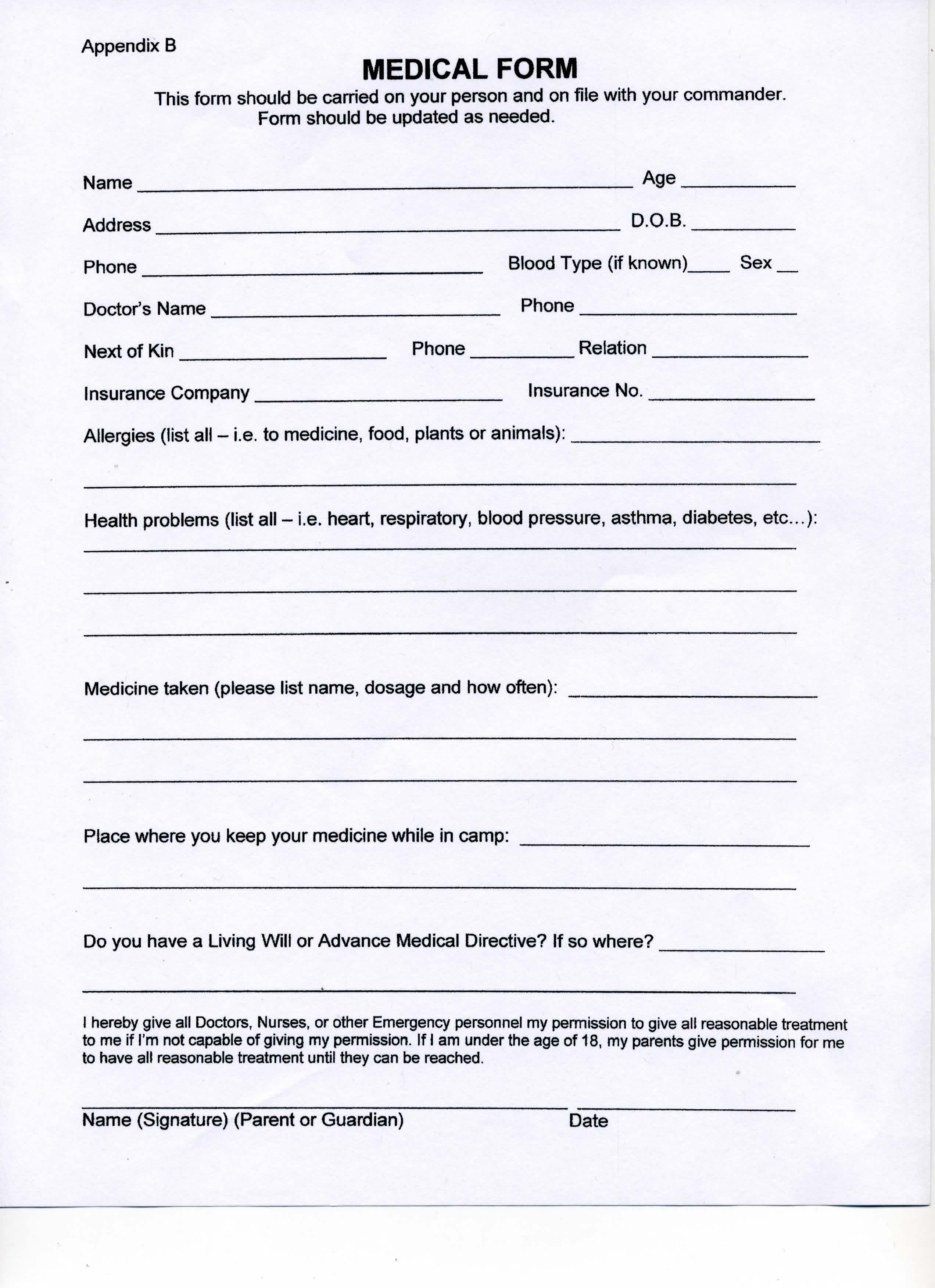 Contoh Medical Form Purchase Form Order Form