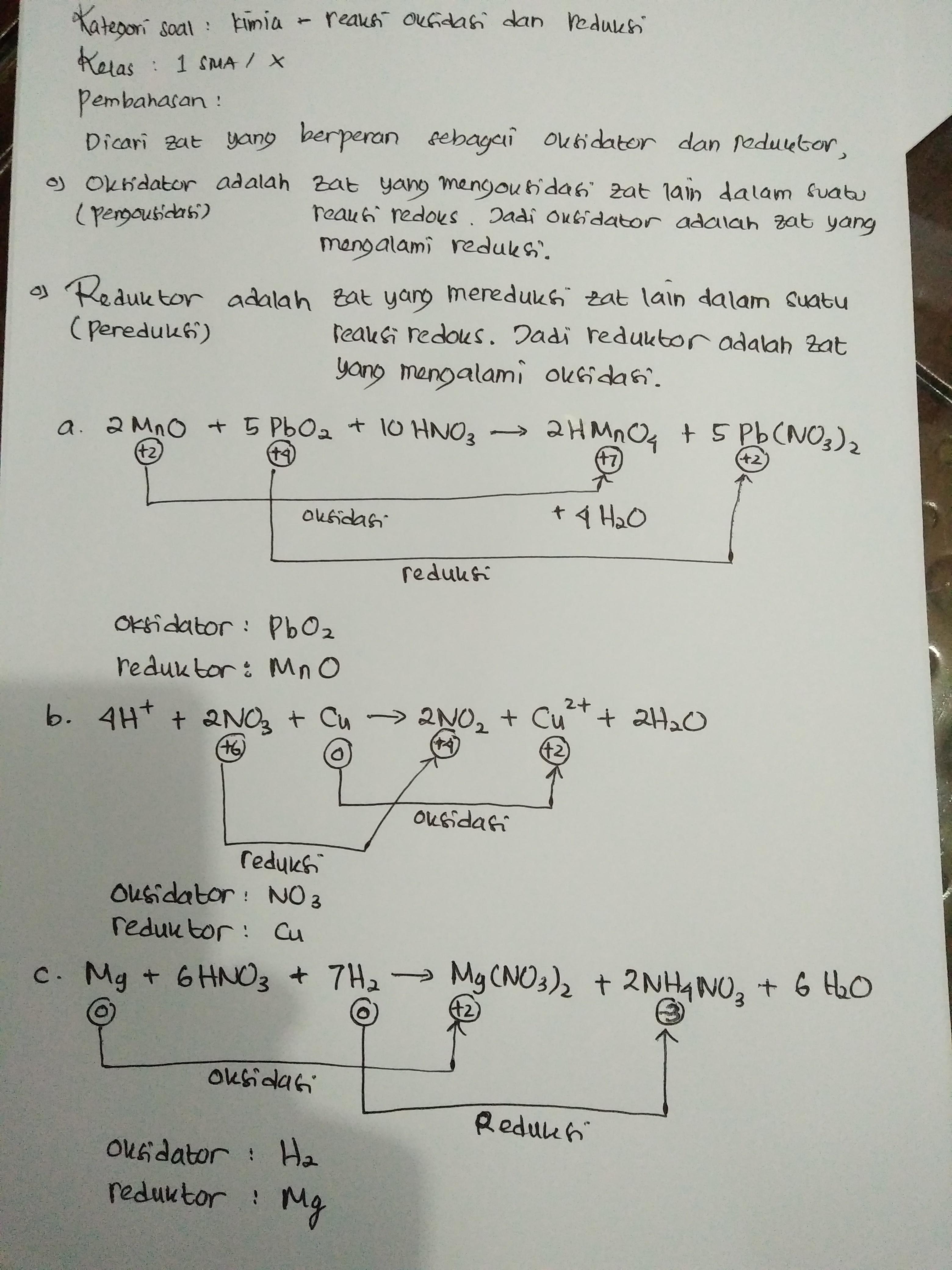 Disajikan Beberapa Reaksi Reduksi Oksidasi Berikut A 2mno 5pbo2 10hno3 2hmno4 5pb No3 2 4h2o B 4h Brainly Co Id