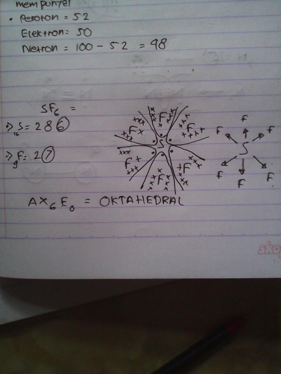 Bentuk Molekul Sf6 Nomor Atom S 16 Adalah Brainly Co Id