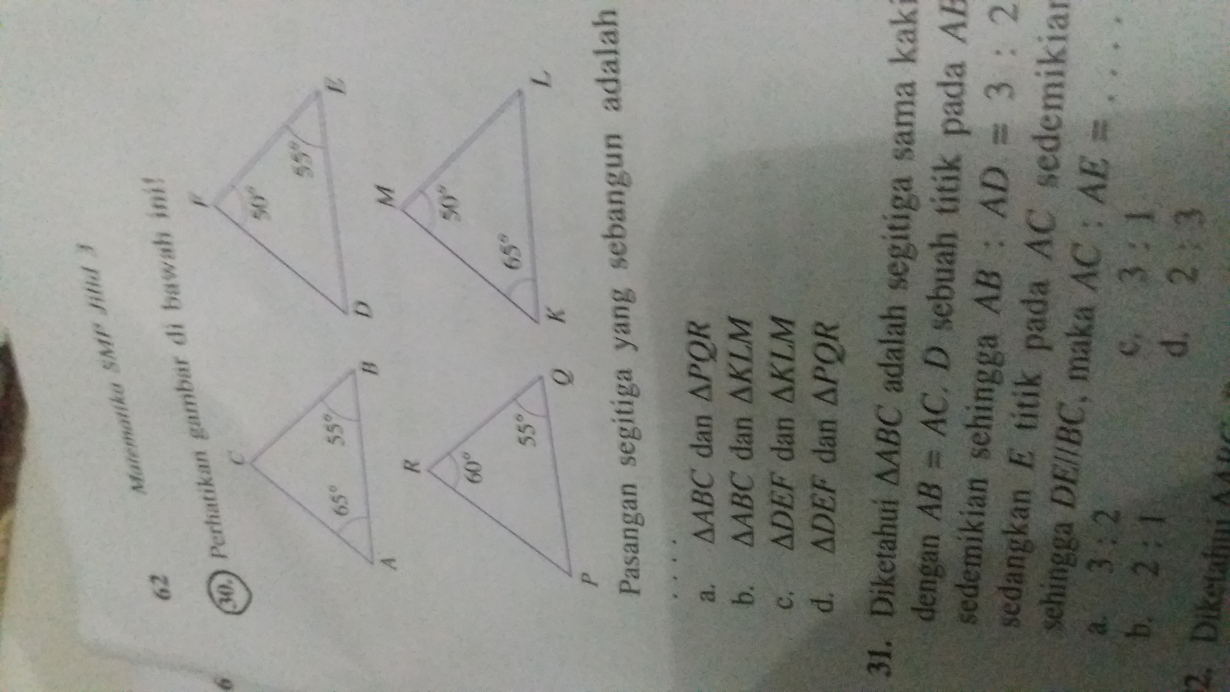 Perhatikan gambar di bawah ini pasangan segitiga yang ...
