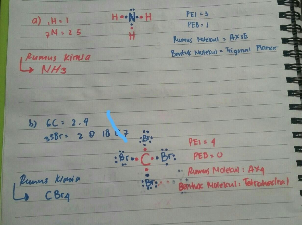 Gambarkan Ikatan Atom Kovalen Dan Rumus Kimia Dari A 3 Atom Hidrogen 1h 1 Atom Nitrogen 7n B 1 Brainly Co Id