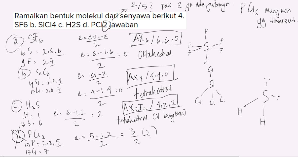 Ramalkan Bentuk Molekul Dari Senyawa Berikut 4 Sf6 B Sici4 C H2s D Pci2 Jawaban Brainly Co Id