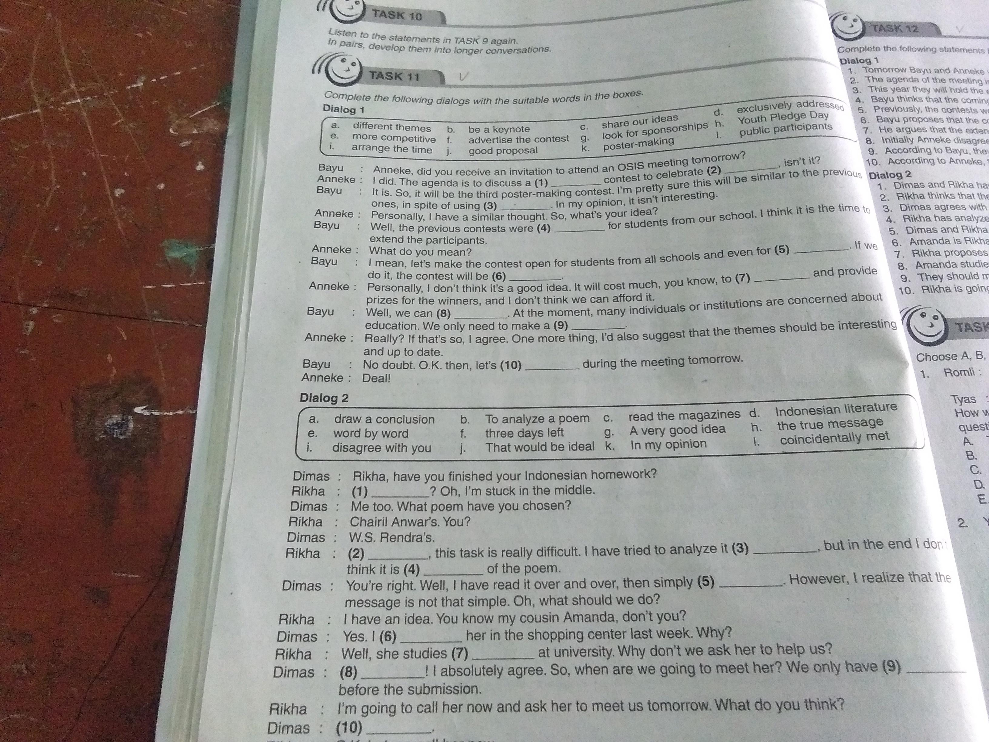 Bahasa Inggris Kelas 11 Semester 1 Task 11 Dan 12 Ini Gimana Brainly Co Id