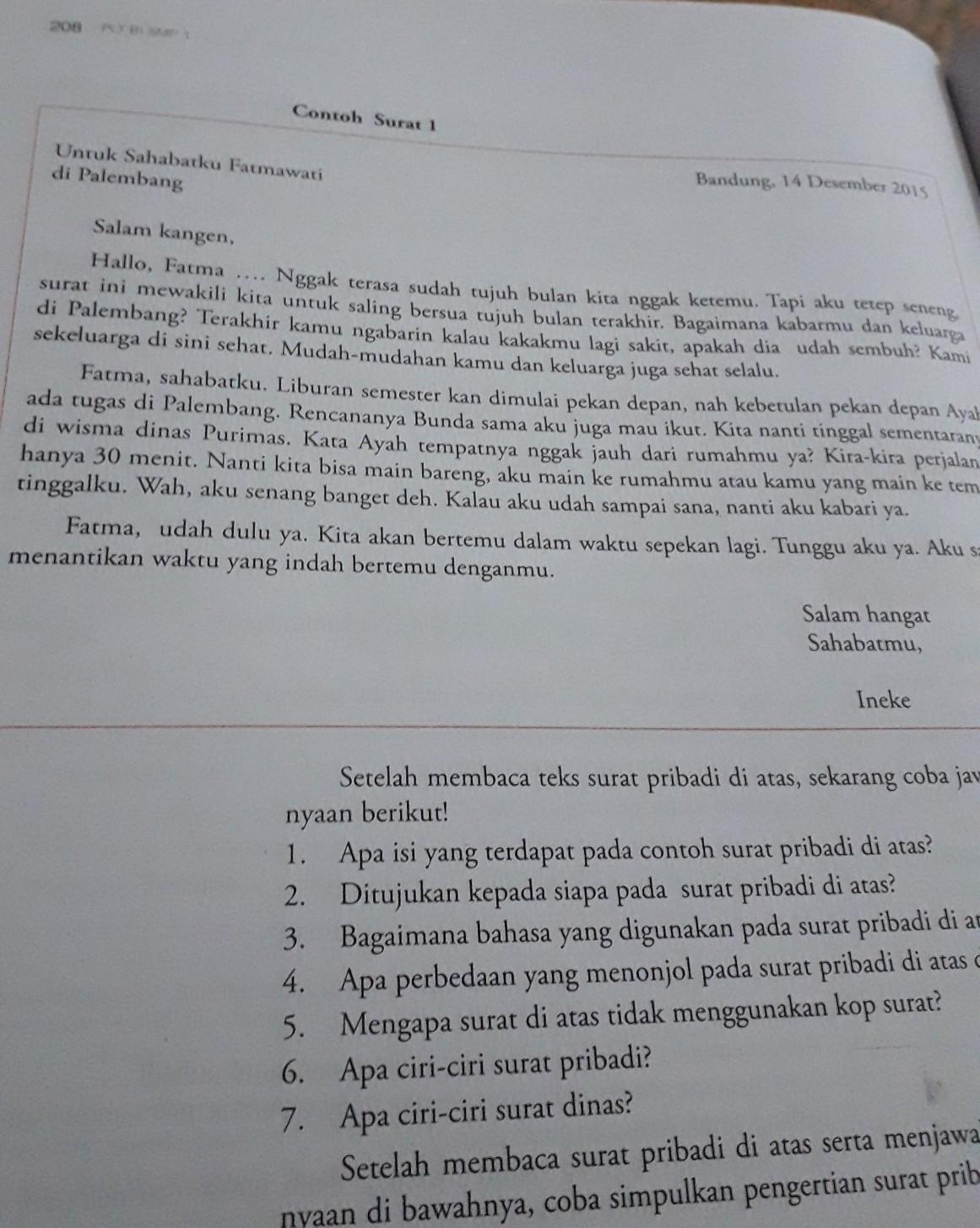 1 Apa Isi Yang Terdapat Pada Contoh Surat Pribadi Di Atas 2 Ditujukan Kepada Siapa Pada Surat Brainly Co Id