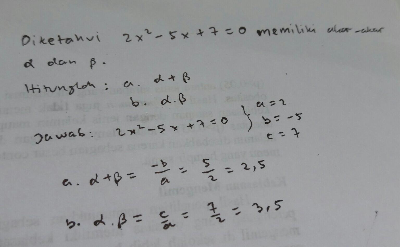 Soal Jumlah Dan Hasil Kali Akar Akar Persamaan Kuadrat Brainly Co Id