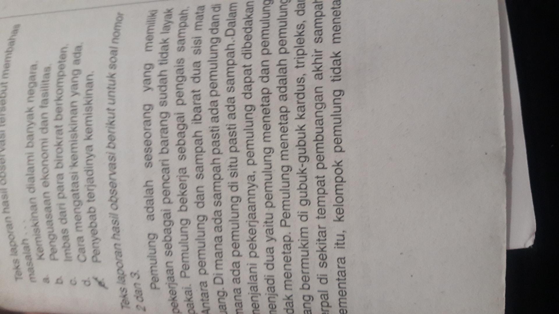 kalimat definisi teks laporan hasil observasi tersebut ...