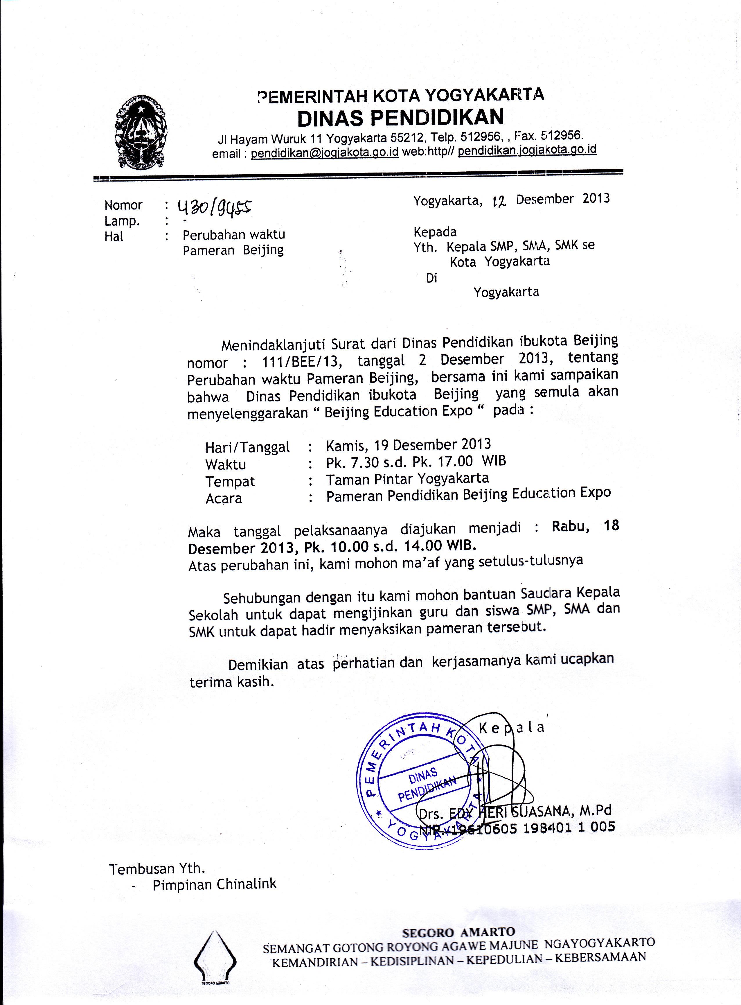 Tuliskan Surat Kepada Dinas Pendidikan Kota Yogyakarta