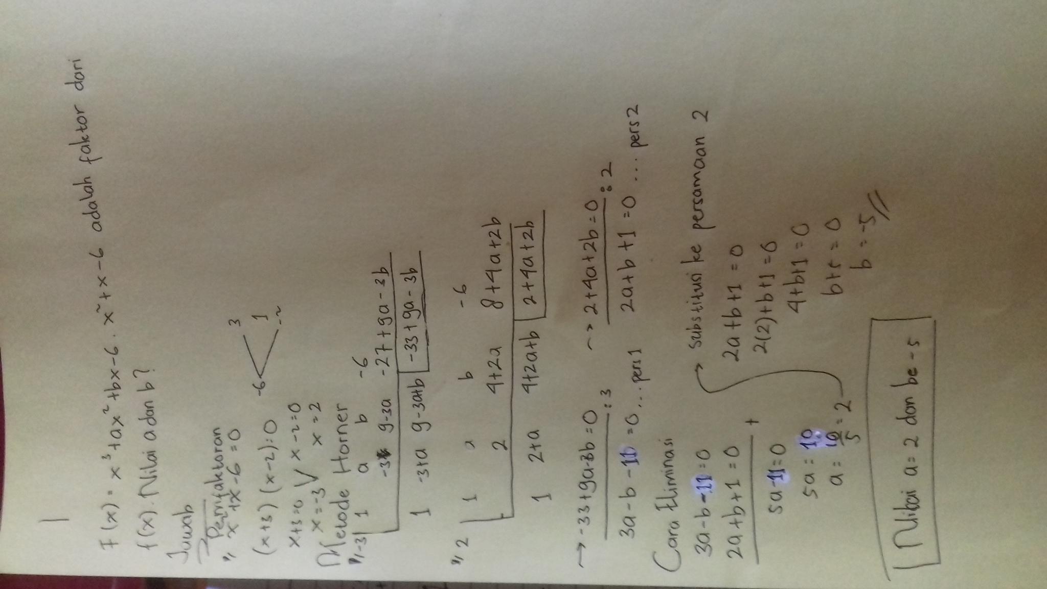 f(x)=x^3+ax^2+bx-6.x^2+x-6 adalah faktor dari f(x ...