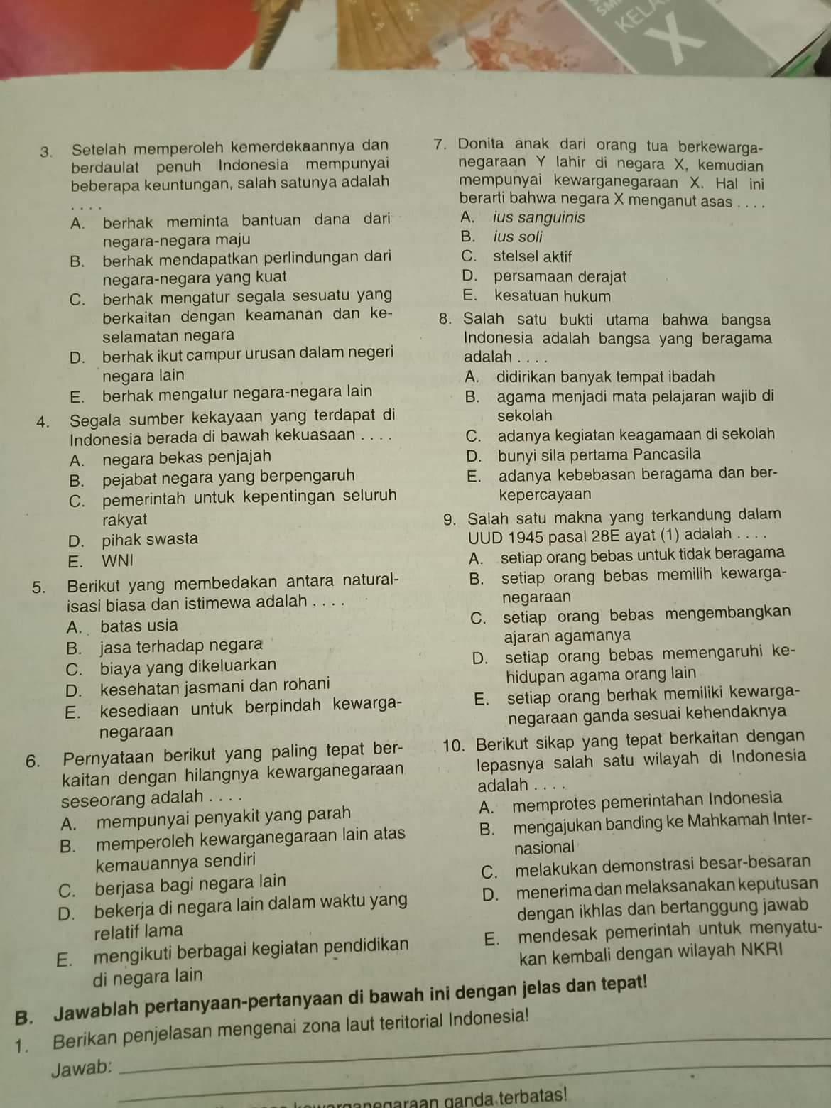 Pembahasan Soal Pkn Kelas 10
