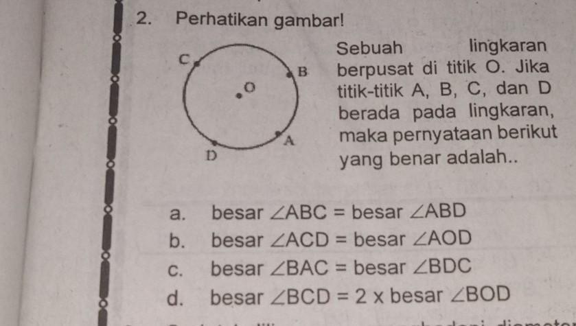 2.Perhatikan gambar!Sebuah lingkaranberpusat di titik O ...