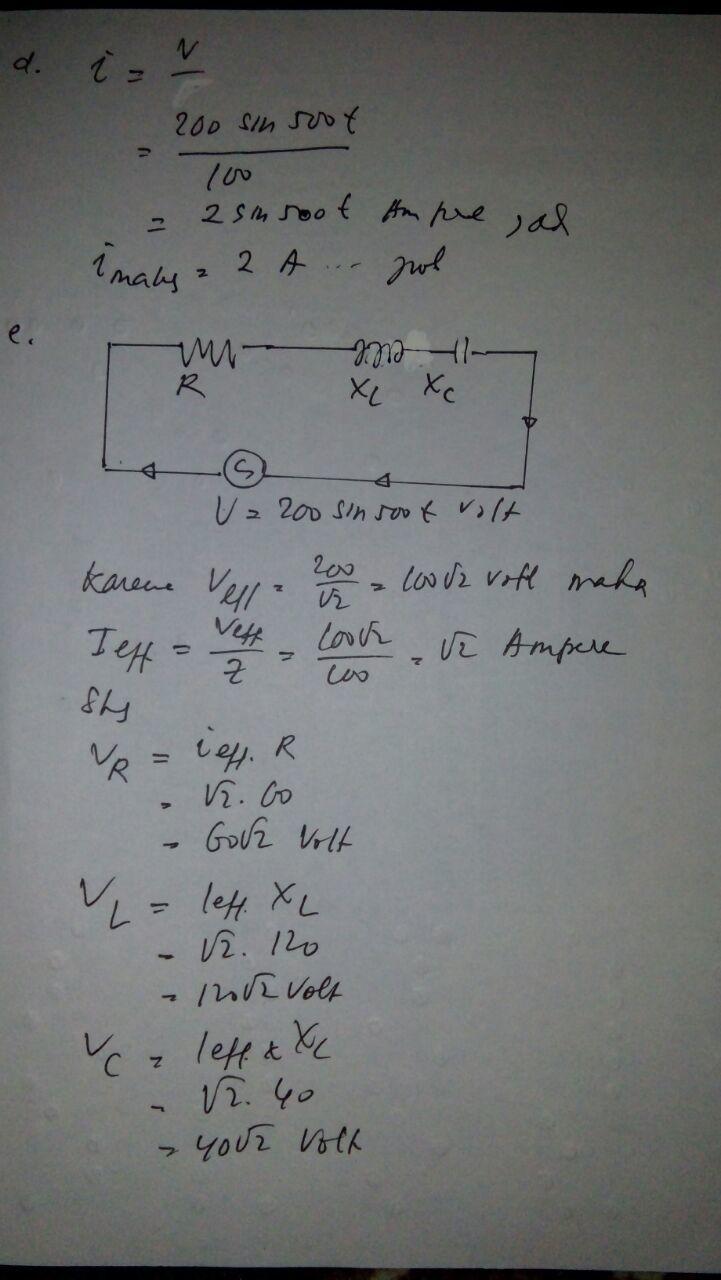 Rangkaian Seri R L C Dengan Nilai R 60 Ohm L 024h Dan Cc 50mf