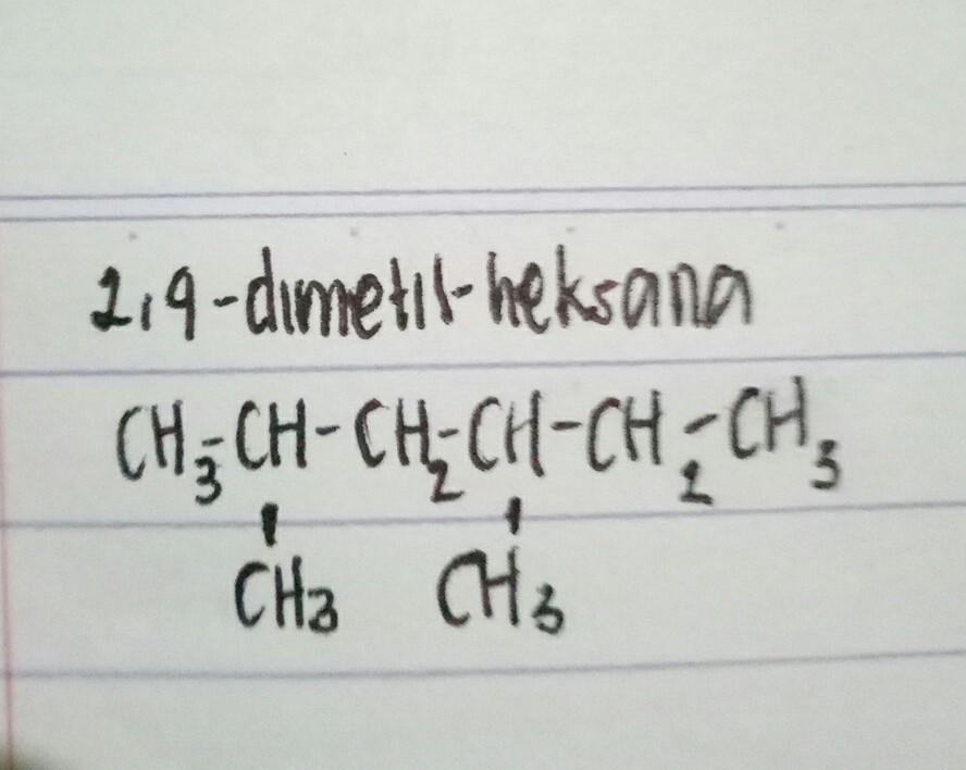 tuliskan struktur senyawa yg namanya 2,4-dimetil heksana ...