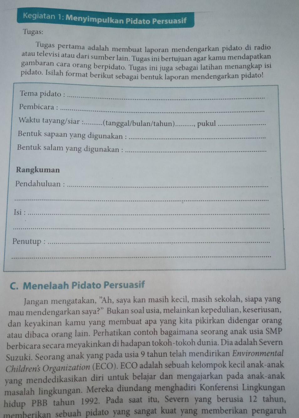Tugas Buku Paket Bahasa Indonesia Kelas 9 Halaman 39 Bantu Jawab Ya Kak Brainly Co Id